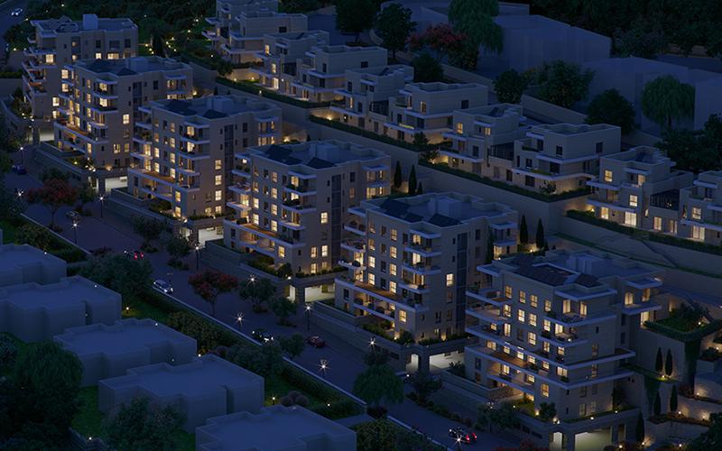 פסגות אלון כרמים הדמיית לילה בניינים יורדים